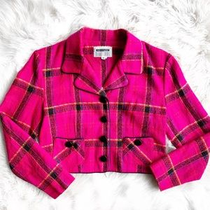 Vintage 90s Fuchsia Pink Plaid Blazer